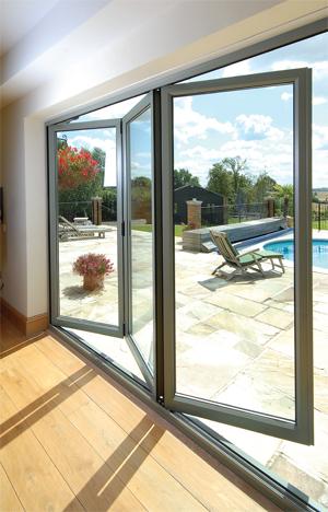 bifold patio doors half open interior view
